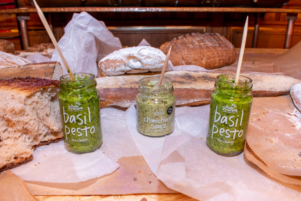 3 jars of pesto and sauce with bread - all donated to Ladles of Love by Pesto Princess for a special event