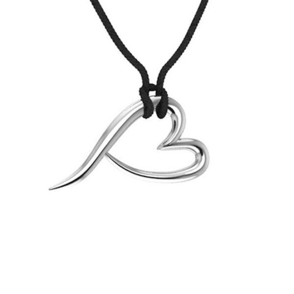a heart pendant with chain all made of sterling silver with the ladles of love non profit heart symbol on a black rope chain.