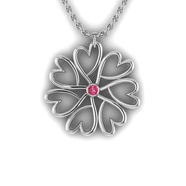 a Red Garnet Pendant Chain made of sterling silver that lies in the middle of a circles of seven connected hearts that are the symbol for Ladles of Love