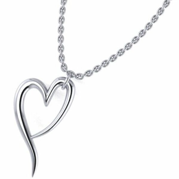 a love pendant with chain all made of sterling silver with the ladles of love non profit heart symbol