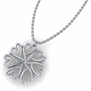 a sterling silver seven hearts chain made of a pattern of the ladles of love non profit heart symbol formed in a circle