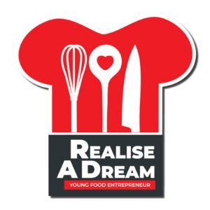 A logo of a chef's hat with kitchen utensils for the Realise A dream Young food entrepreneur competition