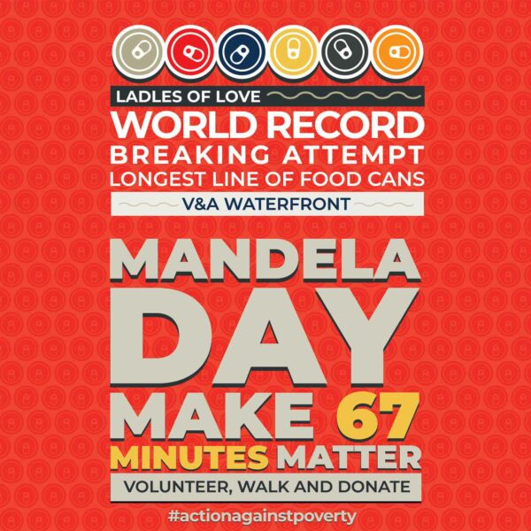 Colourful logo for the attempt to beat the world record for the longest line of cans in a row for Mandela Day 2021
