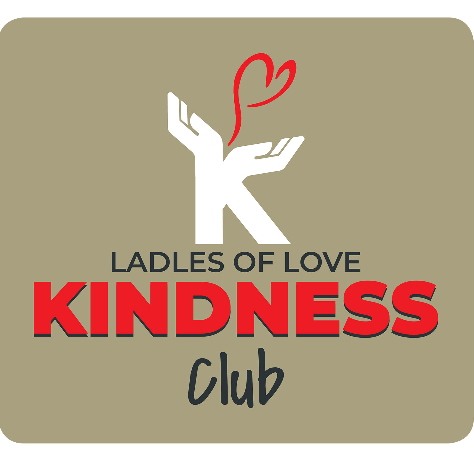 A khaki brown picture with caring hands and a heart coming out form them for the new ladles of love non-profit kindness club benefits logo