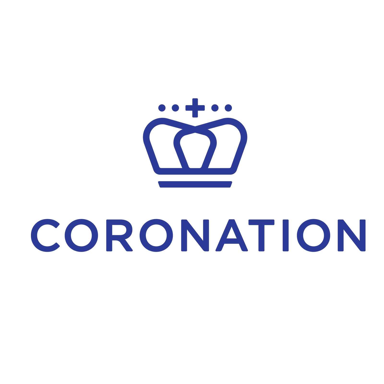 The coronation fund managers logo with a symbol of a blue crown with blue font for the partnership of the Ladles of Love Mandela Day 2021 campaign