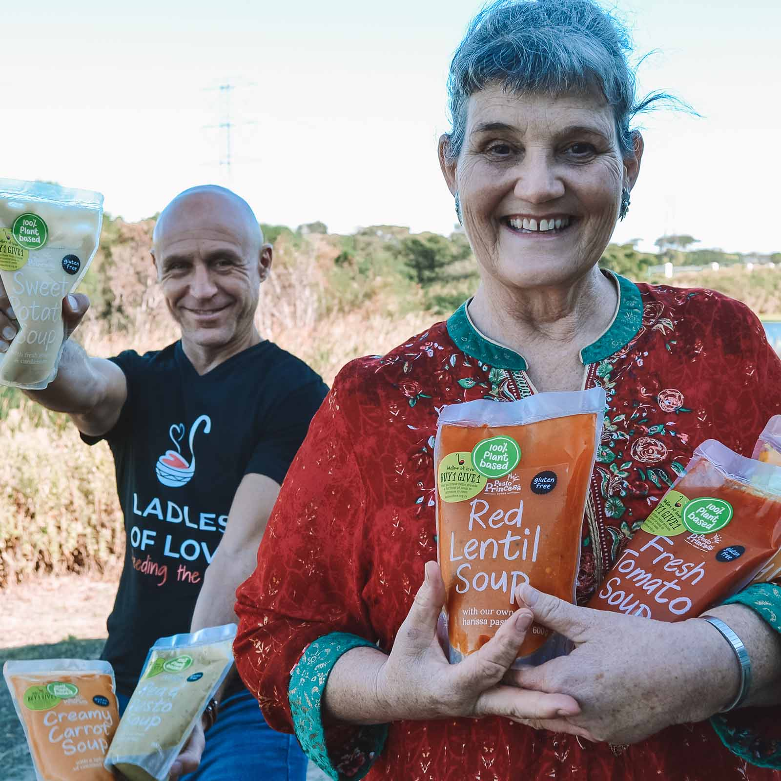 image of the ladles of love founder danny diliberto with pesto princess foods founder Kathleen Quillinan together showing the kindness clubs benefits
