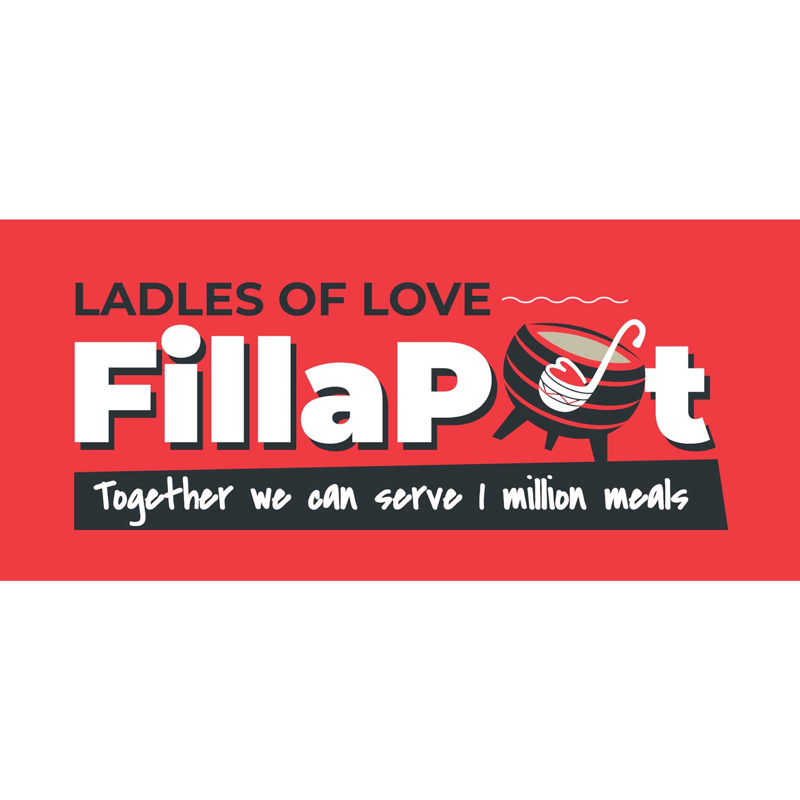 a red logo with a traditional south african potjie iron pot with the ladles of love heart ladle for our charity campaign ideas called fiil a pot