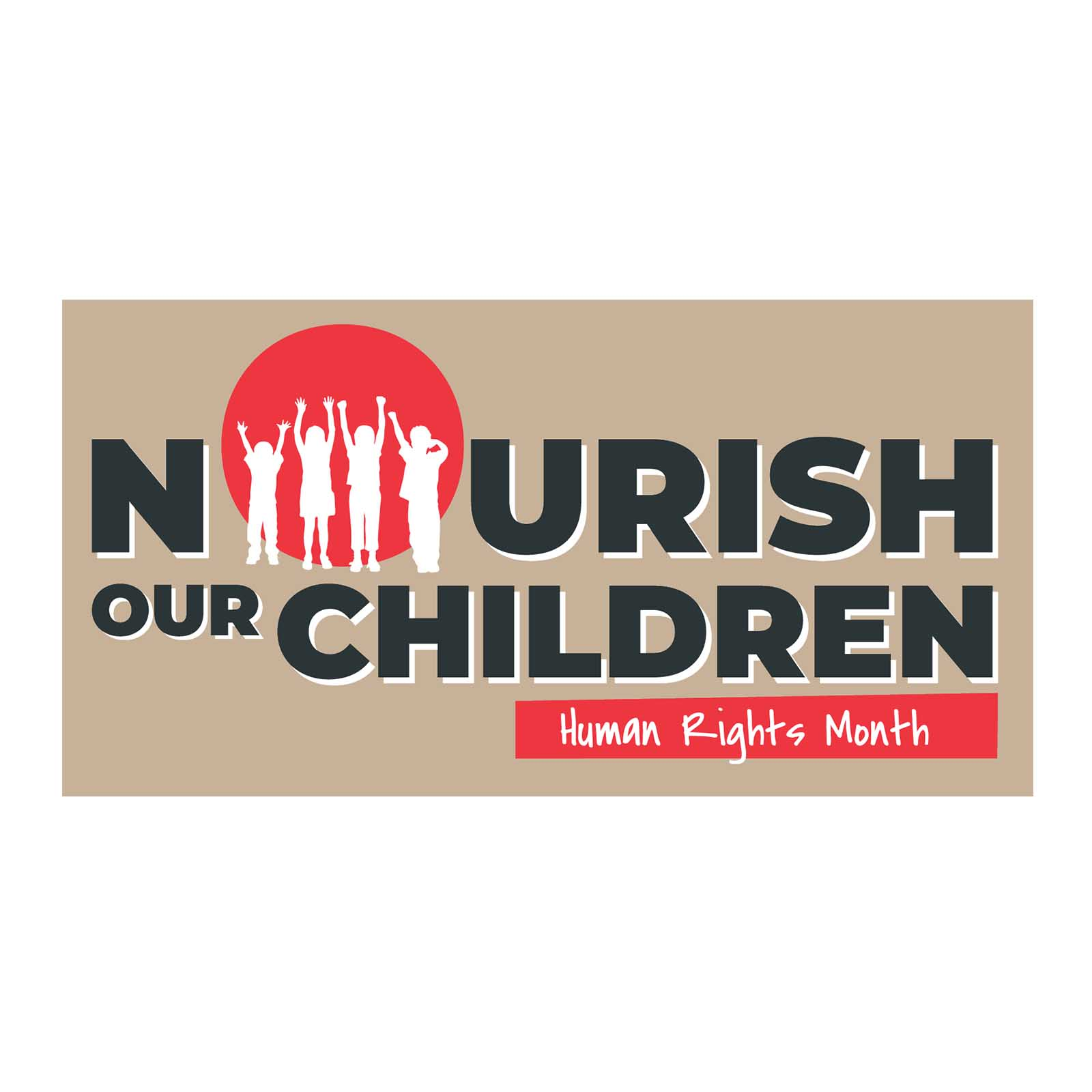a circle of children holding hand around a red sun symbolising our nourish our children campaign for our charity campaign ideas with ladles of love