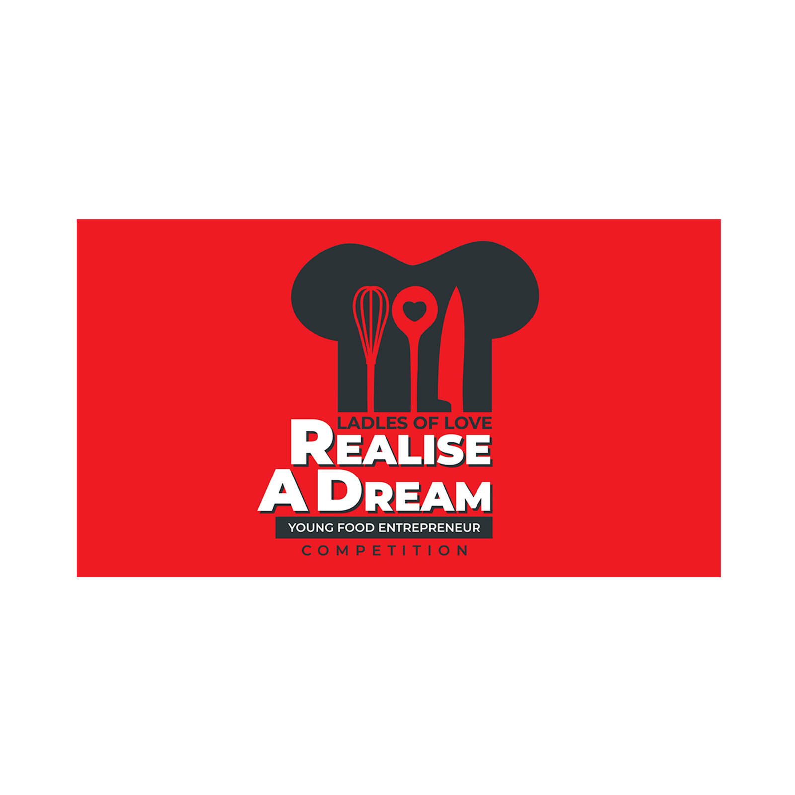 a chef's hat with cooking utensils symbolising the realise a dream competition and campaign for our charity campaign ideas with ladles of love