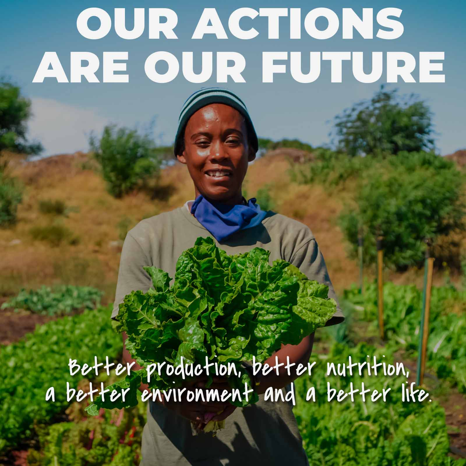 a woman community famer standing with fresh lettuce advocating the feed the soil campaign to develop urban vegetable farming in cape town