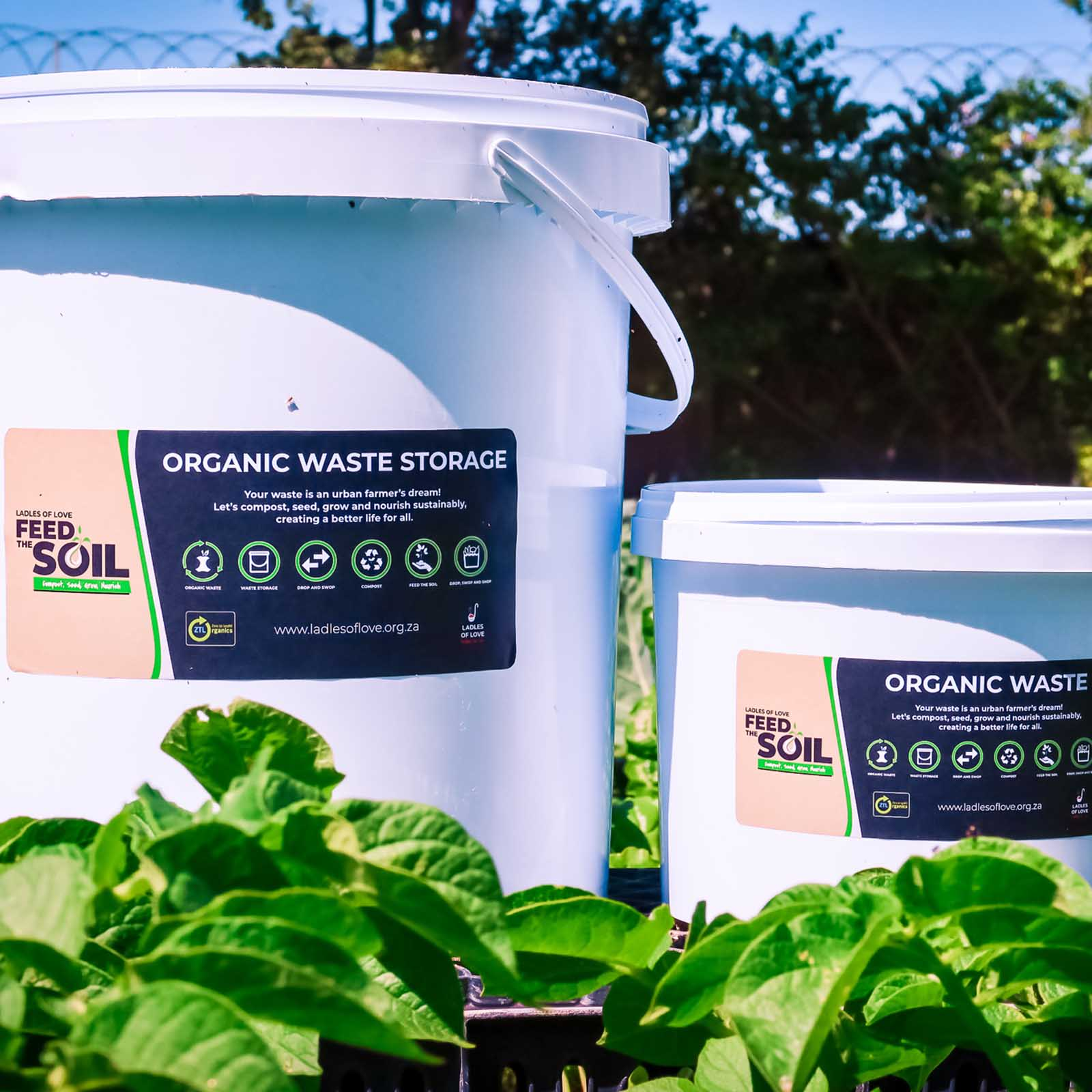 two feed the soil waste kits to collect organic waste to help implement and develop urban farming for sustainable farming charities