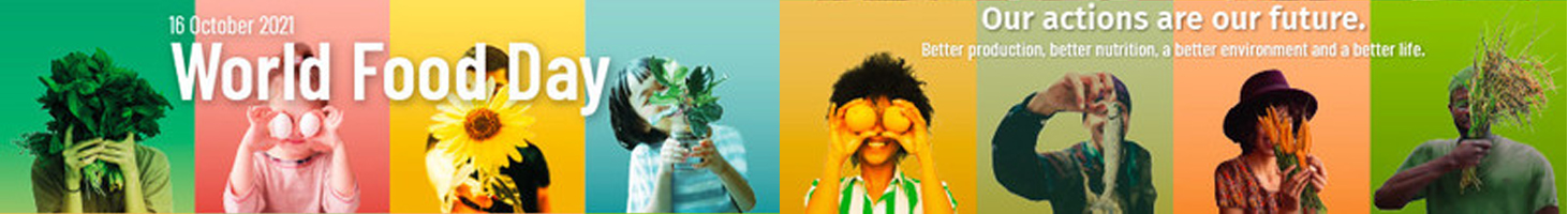 a row of colourful images with people advocating world food day to help develop urban vegetable farming